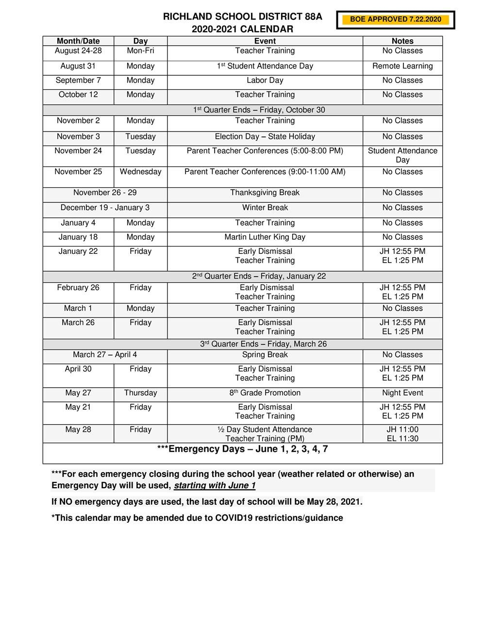 20 - 21 Amended School Calendar for Covid 19